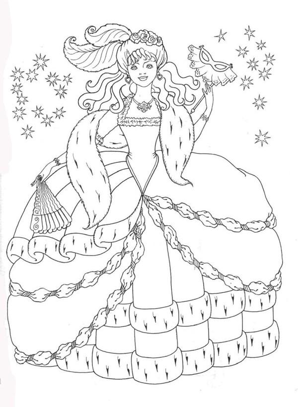Принцесса на балу раскраски для
