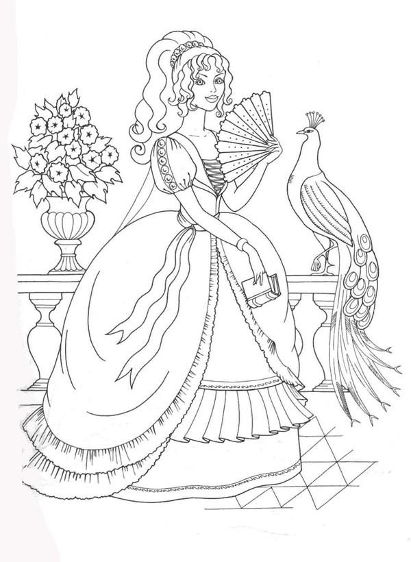 девушка и павлин раскраски для девочек