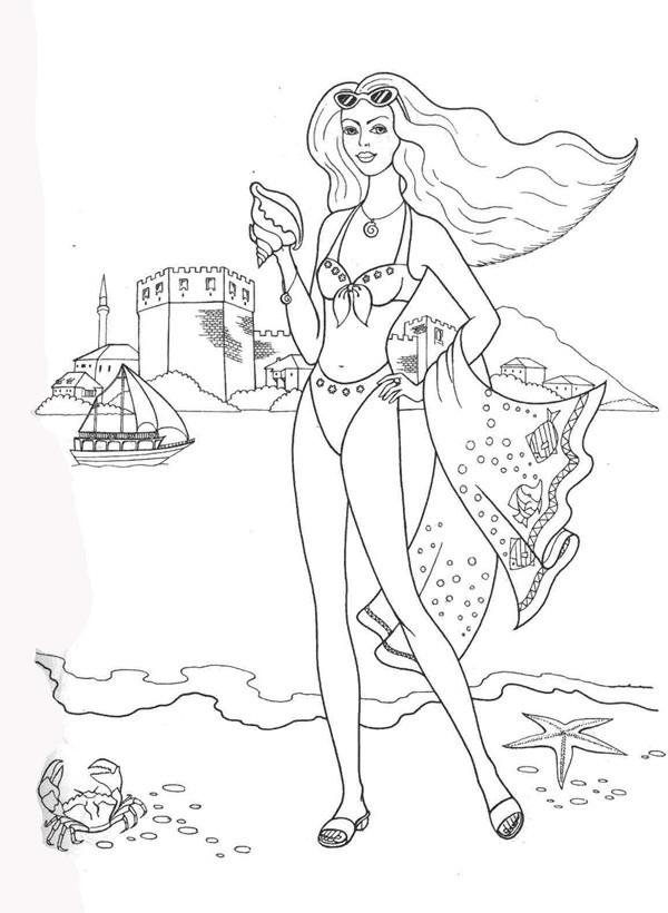 На пляже раскраски для девочек