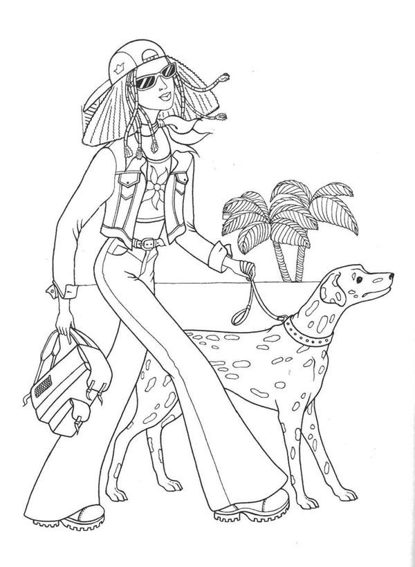 Любимому днем, картинки девочка с собакой раскраска