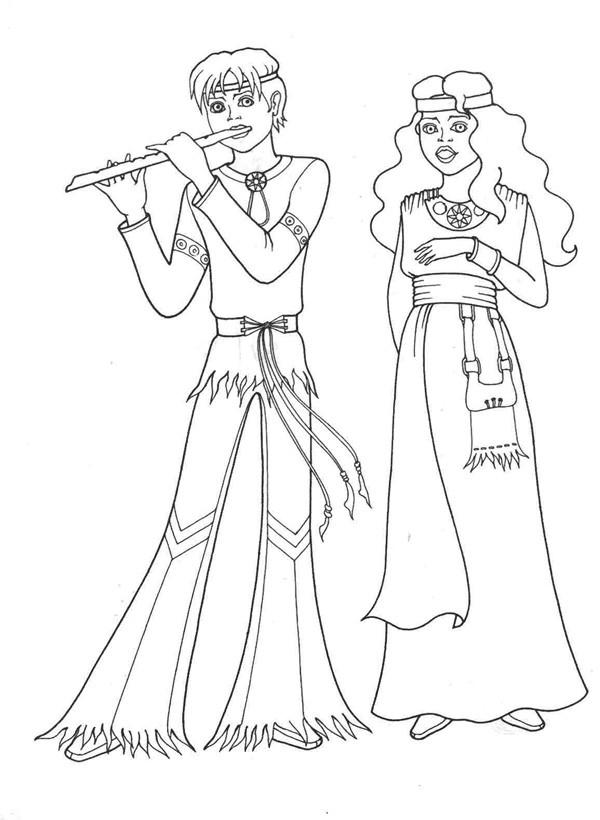Игра на флейте раскраски для девочек