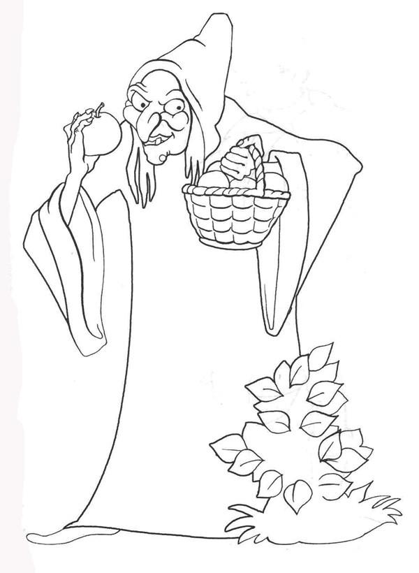 ведьма с яблоком раскраски для девочек