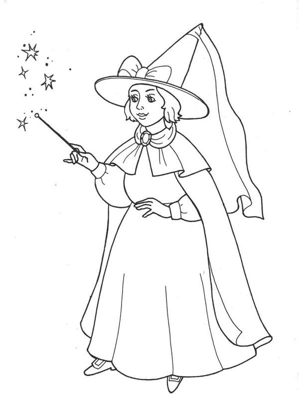 Раскраска волшебник для детей