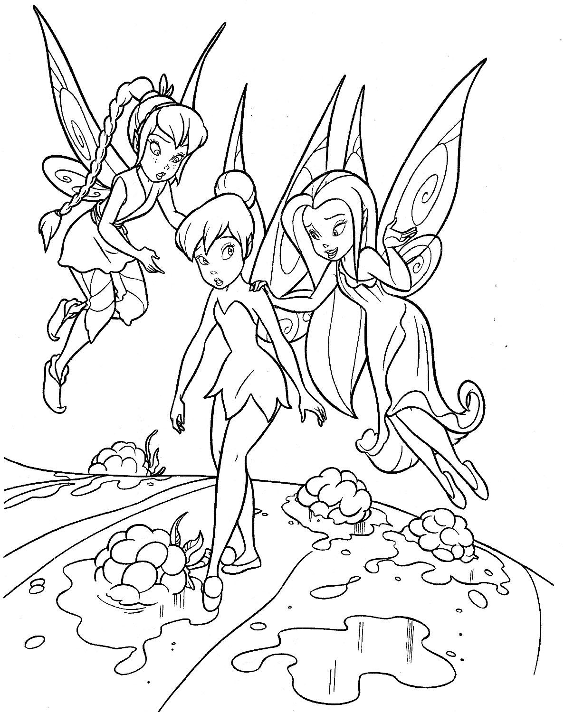 раскраска Динь-Динь или Тинкер Белл discouraged получать утешение ее феи друзей.